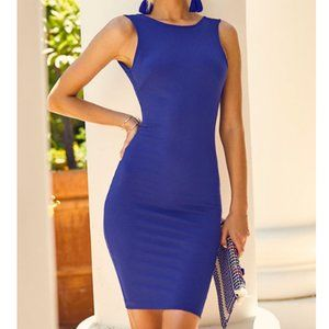 Lulu's Royal Blue Backless Midi Dress sz-M